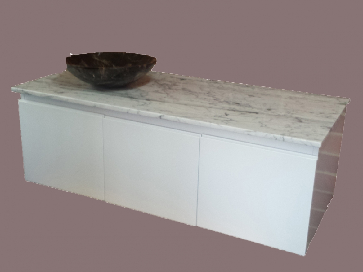 Natural Marble Top/Basin Wall hung Vanity [1200 mm, white]