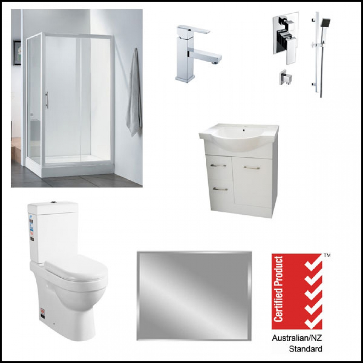 Shower screen+Bathroom Vanity+Toilet suite package deal