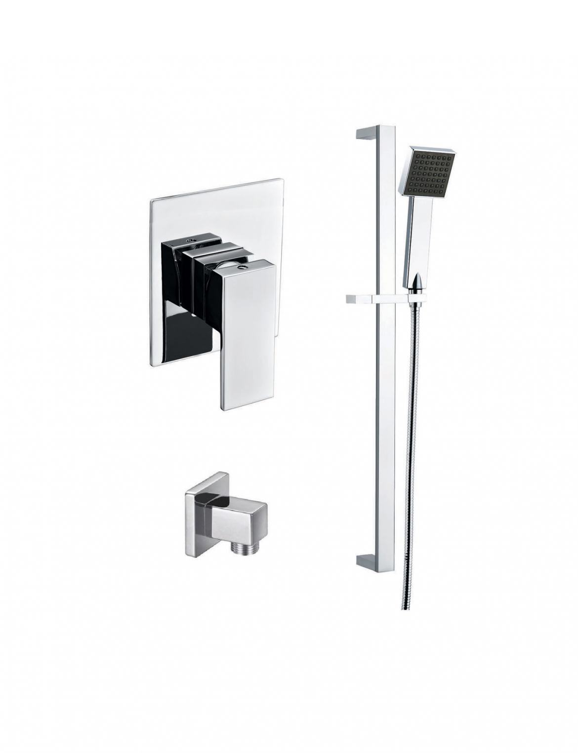 Square shower mixer+slide rail+shower head