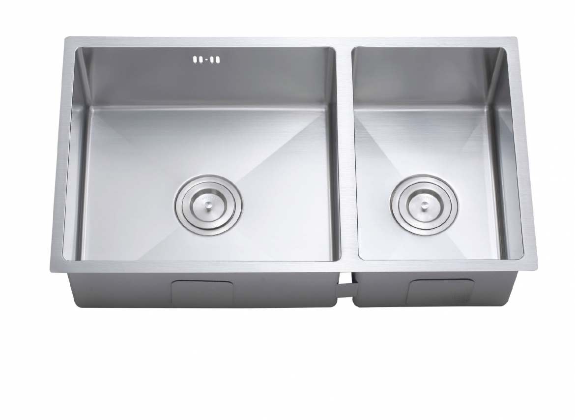 Square undermount double Kitchen sink [760 x 420 x 210]