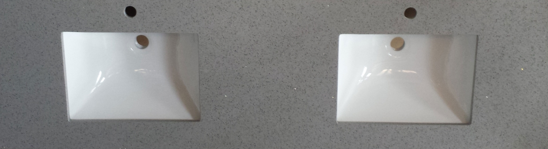 Stone bench top for bathroom vanity in double basin [Grey]