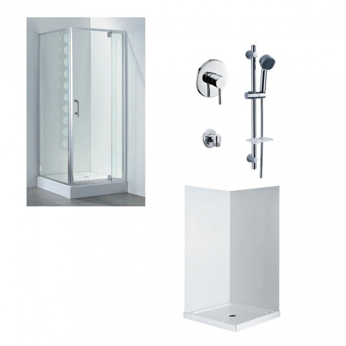 Swing door shower screen+Shower Base+Wall liner+Taps