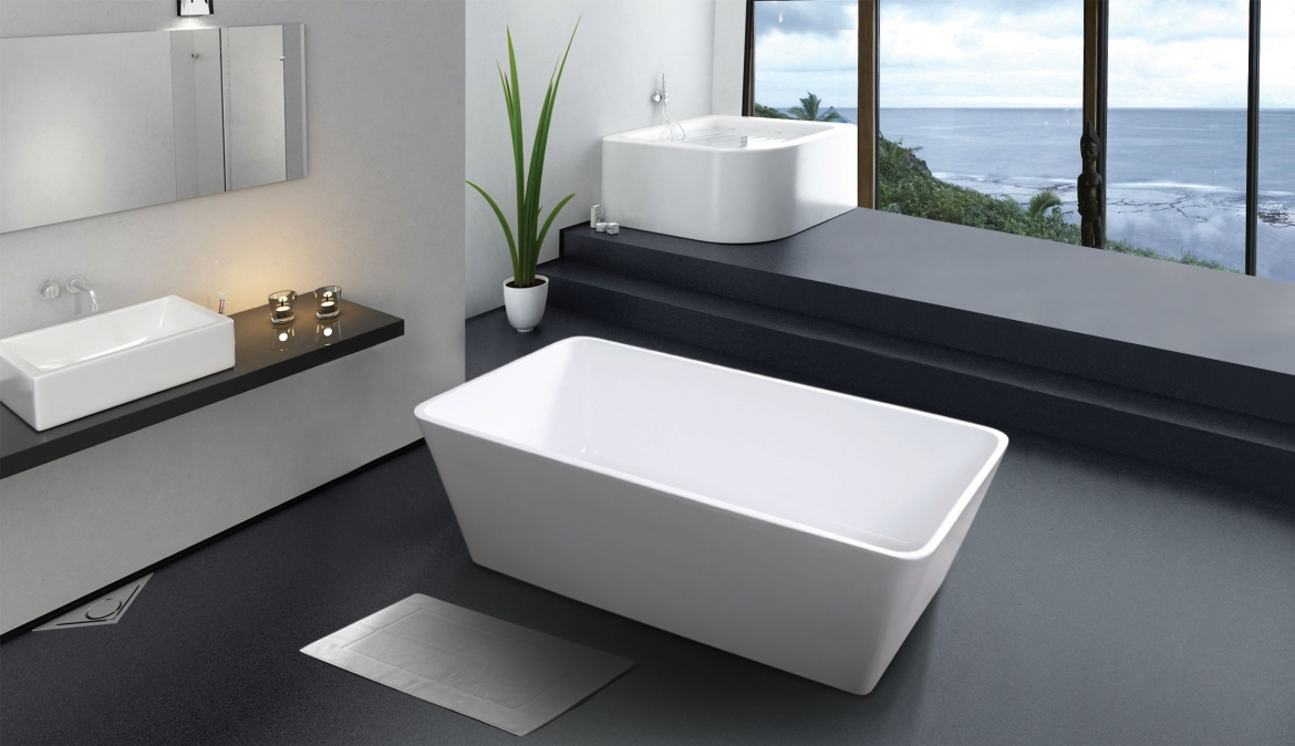 Square free standing bath
