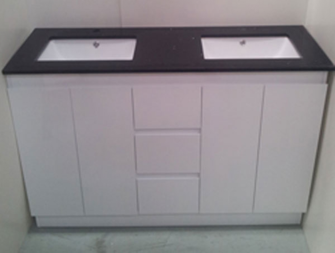 Bathroom Stone Top vanity with double basin[Black stone top/1300]