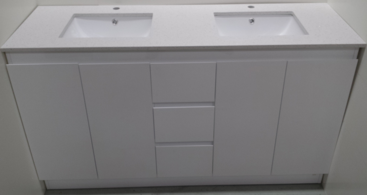 Bathroom Vanity with double basin[white stone top-1400 mm]