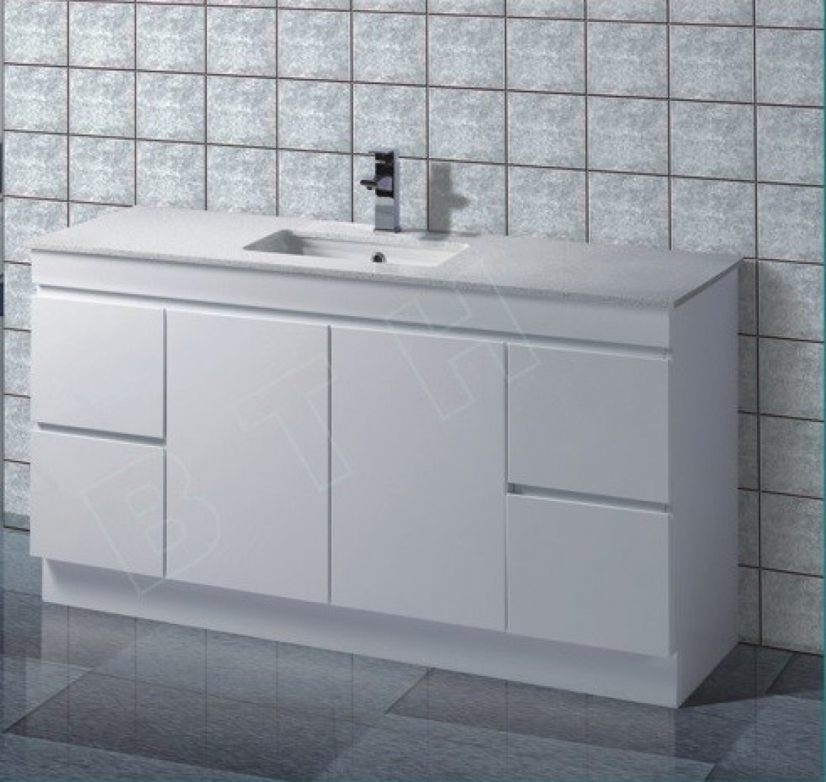 Bathroom stone top vanity [Single Basin-Floor mount]
