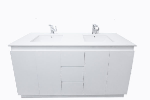 Bathroom stone top vanity [Double basin-Floor mount]