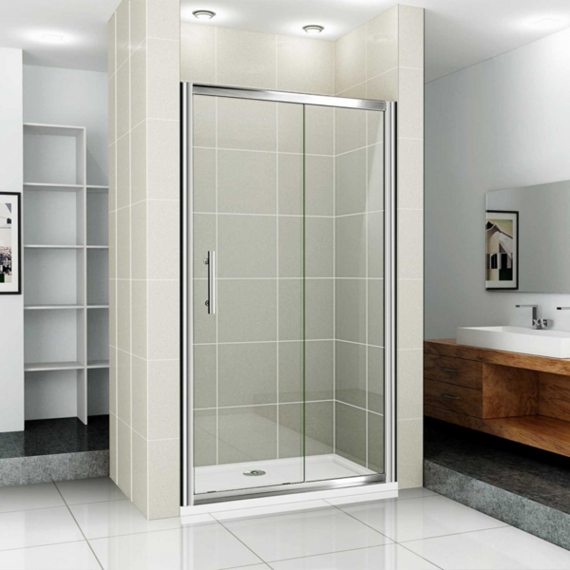 Wall to wall sliding shower screen [1150 mm]