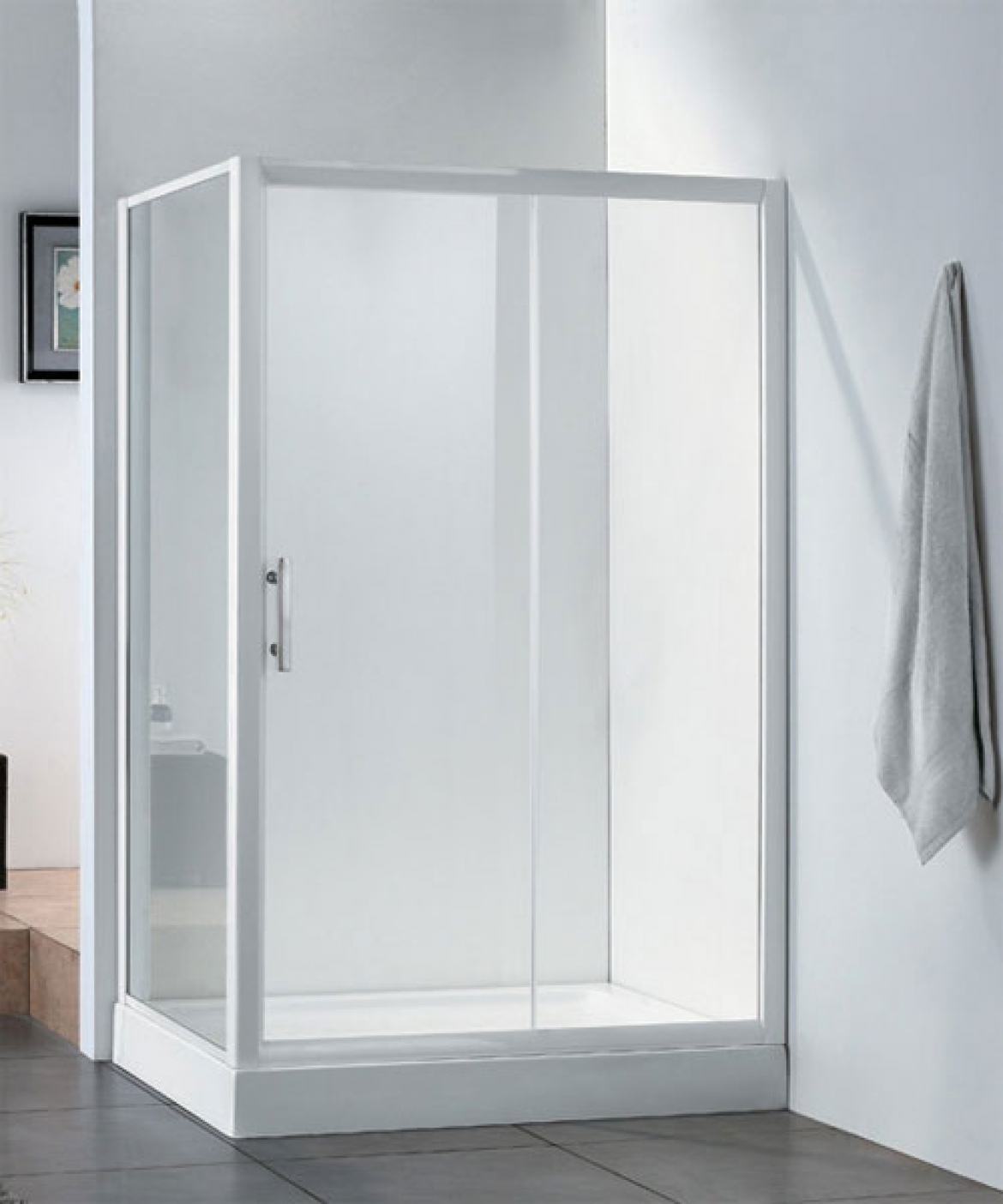 Corner shower screen+Base[sliding door]