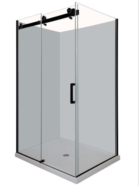 Frameless Shower screen in Black [Sliding door]