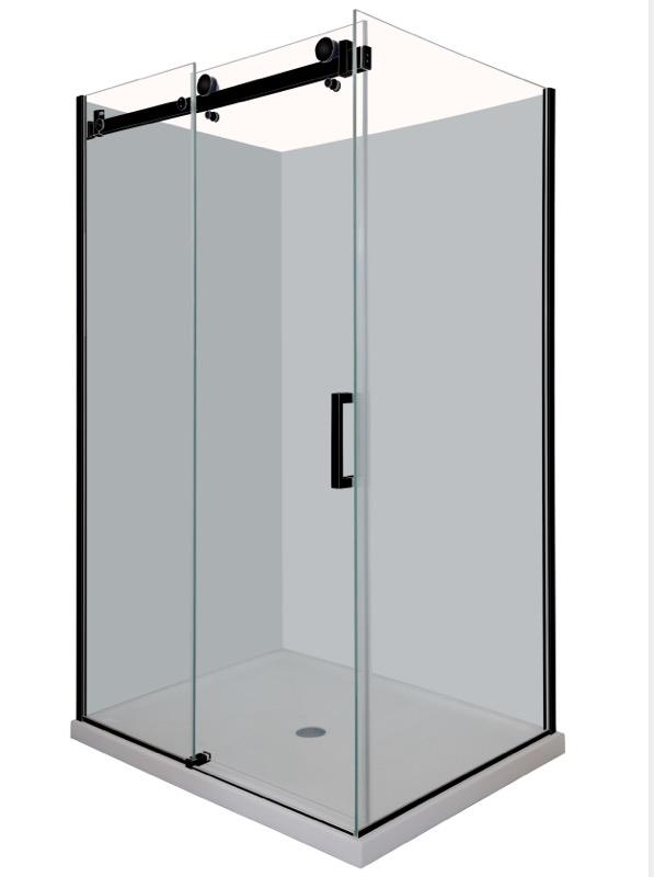 Frameless Shower screen in Black  Sliding door
