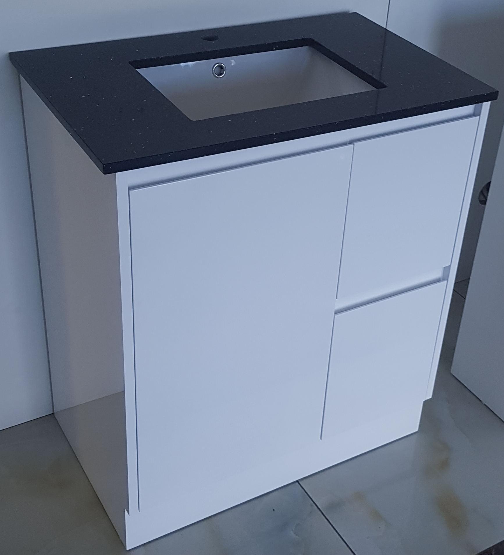 Bathroom Stone top vanity 750 mm  Black