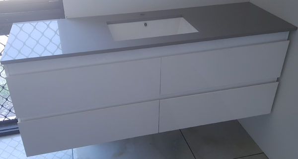 Bathroom wall hung Vanity [Single basin-Grey stone benchtop]